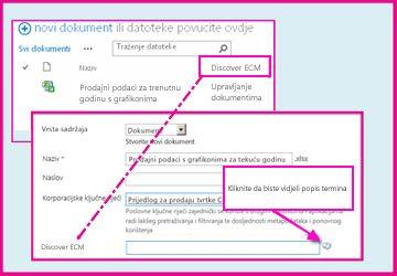 stupac upravljanih metapodataka korisniku omogućuje odabir unaprijed definiranih vrijednosti koje može unijeti u stupac putem svojstava dokumenta.