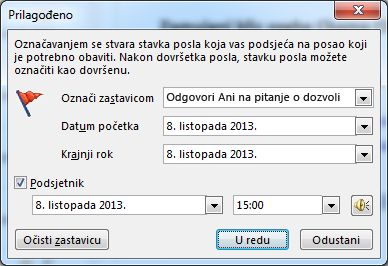 Dijaloški okvir Prilagođeno za postavljanje podsjetnika, početnih datuma i datuma dospijeća
