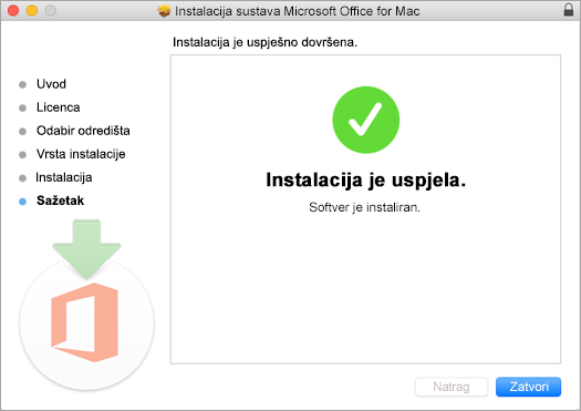 Pokazuje zadnju stranicu procesa instalacija, na kojoj stoji da je instalacija uspjela.