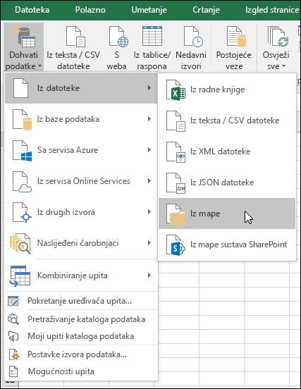Kombiniranje binarne datoteke iz datoteke > iz mape mogućnost