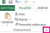 Pokretač dijaloškog okvira nalazi se u donjem desnom kutu grupe Međuspremnik na kartici Polazno.