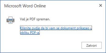 Dijaloški okvir za ispis u programu Word Online