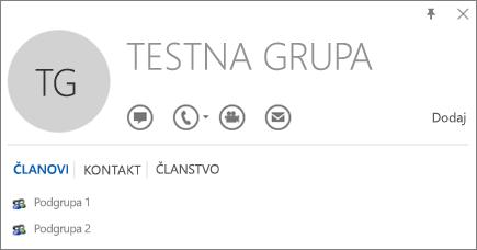 Snimka zaslona s karticom Članstvo na kartici kontakta u programu Outlook za grupu s nazivom Probna grupa Podgrupa 1 i Podgrupa 2 prikazane su kao članice.