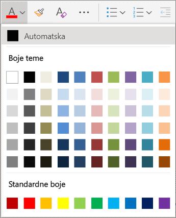 Mogućnosti izbornika boja fontova u programu OneNote Online.