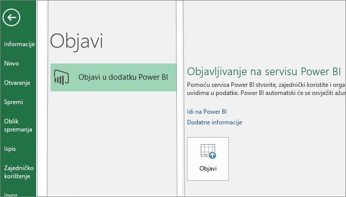 Kartica Objavljivanje u programu Excel 2016 koja prikazuje gumb Objavi u dodatku Power Bi
