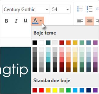 odaberite boju teksta