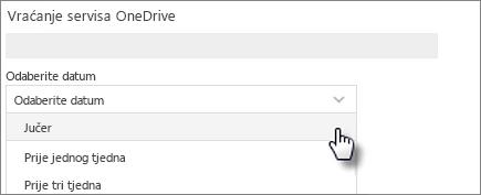 Snimka zaslona datuma na zaslonu Vraćanje servisa OneDrive