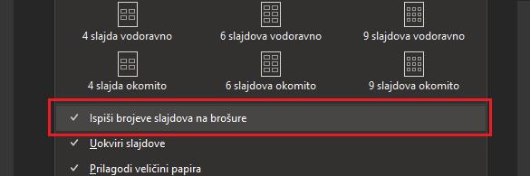 Dijaloški okvir Ispis s istaknutim ispisom brojeva slajdova na brošurama