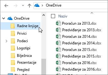 Eksplorer sustava Windows, mapa servisa OneDrive, datoteke programa Excel