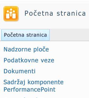 Dostupni popisi i biblioteke sustava SharePoint navedeni su gornjem lijevom kutu web-mjesta sustava SharePoint