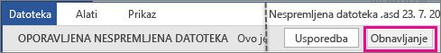Otvaranje nespremljene datoteke u sustavu Office 2016