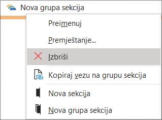 Dijaloški okvir za brisanje grupe sekcije u programu OneNote za Windows