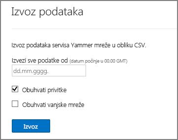 Izvoz podataka iz mreže servisa Yammer