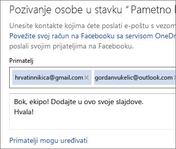 Upišite adres e-pošte i poruku da biste poslali vezu