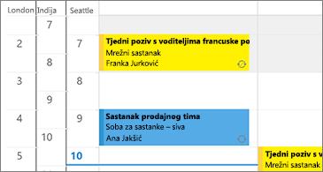 Kalendar sa 3 vremenske zone na lijevoj strani i sastancima na desnoj strani