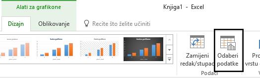 Mogućnost Odabir podataka nalazi se na kartici Dizajn.