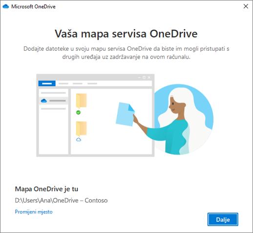 Ovo je zaslon mape servisa OneDrive u čarobnjaku dobro došli u OneDrive