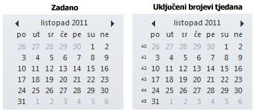 Navigator datuma na traci obaveza s brojevima tjedna i bez njih