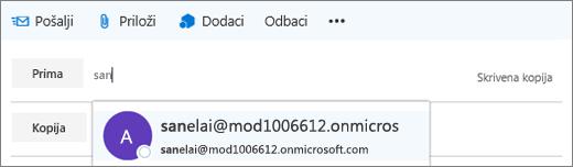Snimka zaslona prikazuje redak Primatelj u poruci e-pošte s mogućnošću brisanja adrese e-pošte primatelja.  U polju Primatelj značajka automatskog ispunjavanja navodi adresu e-pošte primatelja na temelju prvih nekoliko slova primateljeva imena.