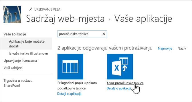 Uvoz u novi dijaloški okvir aplikacije istaknute aplikacije za proračunske tablice