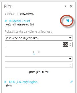 ikona Napredni filtar u značajci Power View