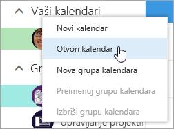 Snimka zaslona s kontekstnog izbornika Ostali kalendari, Otvori kalendar odabran.