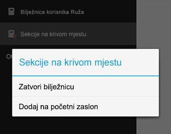 Naredba Zatvori bilježnicu u programu OneNote za Android