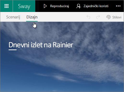 Kartica Dizajn u aplikaciji Sway.