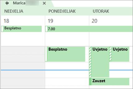 Što kalendara izgleda kao osoba koje zajednički koristite s programom.