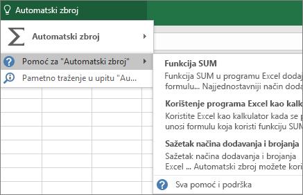 Pristup pomoći u programu Excel