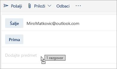 Snimka zaslona s porukom koja se povlači u okno za sastavljanje