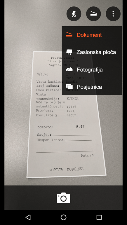 Snimka zaslona kako snimiti sliku u aplikaciji Office Lens za Android.