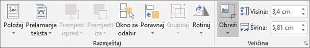 Na kartici Oblikovanje kliknite Obreži.