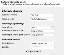 Unesite detalje za račun za Gmail