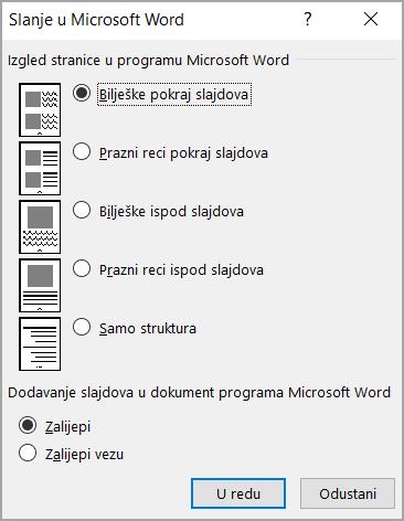 Okvir slanje u Microsoft Word