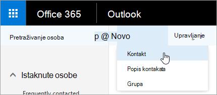 """Snimka zaslona s kontekstnim izbornikom za gumb """"Novo"""", uz odabranu mogućnost """"Kontakt""""."""