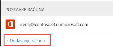 Dodavanje računa u programu Outlook