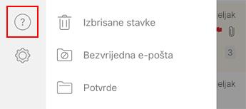 Slika lijevog navigacijskog okna u programu Outlook za iOS.