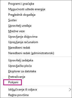 Naredba Pokreni nakon klika desnom tipkom miša na Start u sustavima Windows 8 i Windows 10