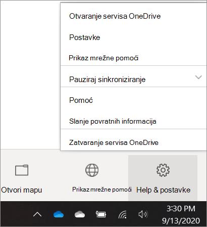 Snimka zaslona otvaranja postavki servisa OneDrive