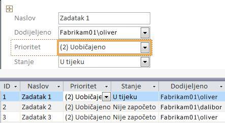 Stvaranje prikaza pomoću programa Microsoft Access