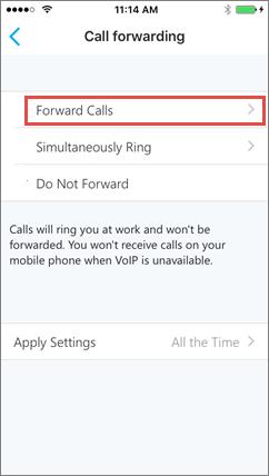 Skype za tvrtke za zaslonu prosljeđivanje poziva za iOS