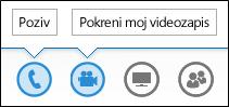 Snimka zaslona s gumbom za zvuk i kameru