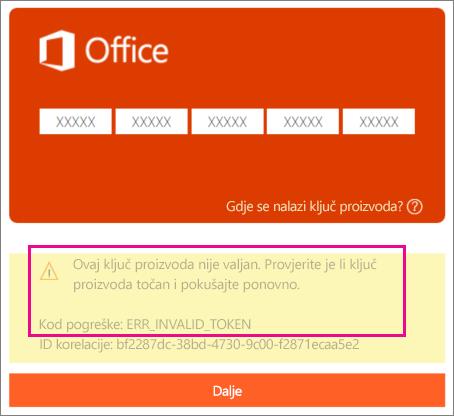 Kod pogreške koji se prikazuje prilikom unosa pogrešnog ključa proizvoda na web-mjestu http://office.com/setup.