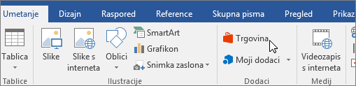 Snimka zaslona s odjeljkom na kartici Umetanje na vrpci programa Word s pokazivačem koji pokazuje na spremište. Odaberite spremište u trgovini sustava Office i potražite dodatke za Word.