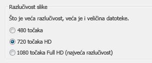 Snimka zaslona mogućnosti za snimanje