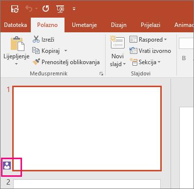 Prikazuje ikonu koja označava da netko drugi surađuje na slajdu u programu PowerPoint 2016