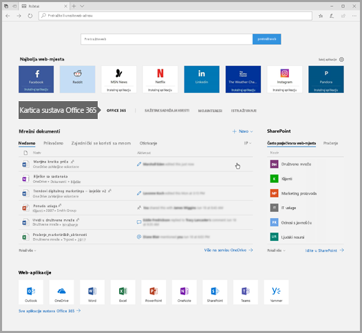Snimka zaslona s prikazom preglednika Edge i karticom Office 365