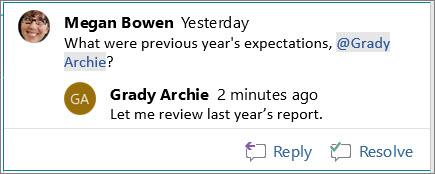 Odgovaranje na komentar u programu Word