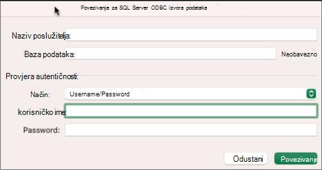 Dijaloški SQL Server za unos poslužitelja, baze podataka i vjerodajnica